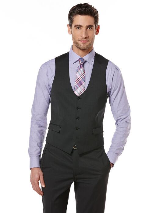 Black Pindot Suit Vest, Black, hi-res