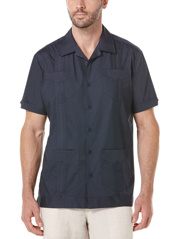 Cotton Short Sleeve Guayabera, Blue Nights, hi-res