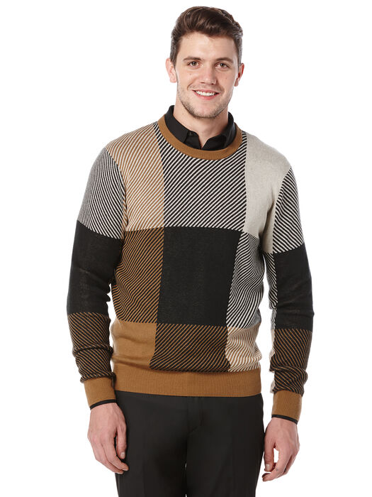 Plaid Crewneck Sweater, Otter, hi-res