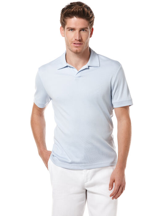 Big and Tall Rib Open Knit Polo, Light Blue, hi-res