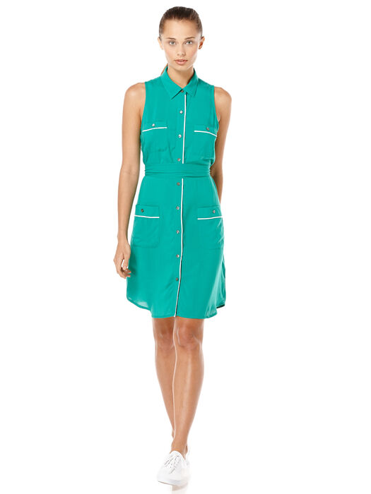 WOMEN'S SHIRT DRESS, Pepper Green, hi-res