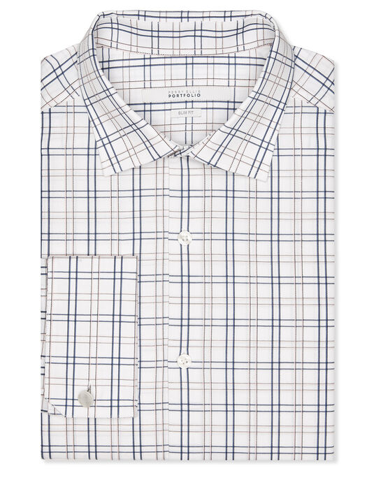 Slim Fit Check Stripe Dress Shirt, Bright White, hi-res
