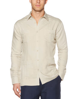 Long Sleeve Rayon Blend Guayabera, Natural Linen, hi-res