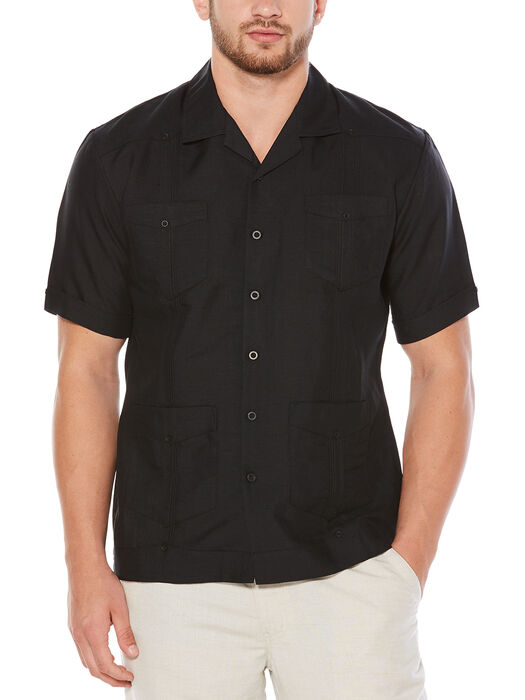 Short Sleeve Rayon Blend Guayabera, Jet Black, hi-res