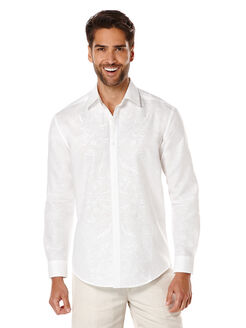 Linen Long Sleeve Shirt With Embroidered Placket, Bright White, hi-res