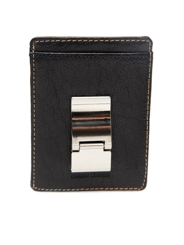 Front Pocket Portfolio Clip Wallet, Black, hi-res