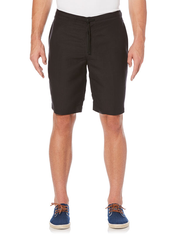Drawstring Linen Short, Jet Black, hi-res