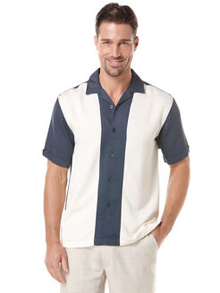 Rayon Polyester Pieced Shirt, Blue Nights, hi-res