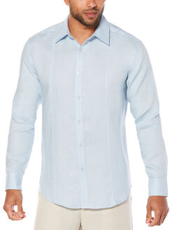 100% Linen Long Sleeve Front Tuck Shirt, Cashmere Blue, hi-res