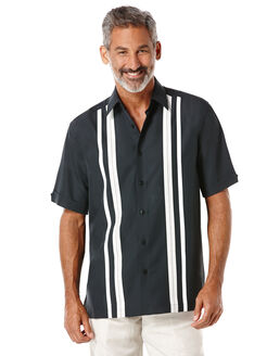 Short Sleeve Tri-Color Panel Shirt, Jet Black, hi-res