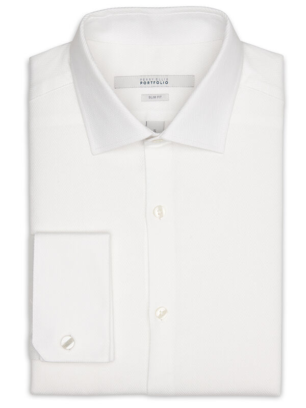 Slim Fit French Cuff Portfolio Dress Shirt, Bright White, hi-res