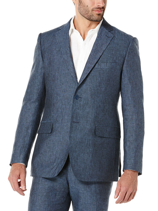 100% Linen Suit Jacket, Dress Blues, hi-res