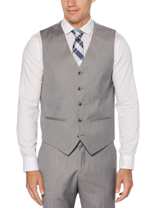 Regular Fit Herringbone Suit Vest, Brushed Nickel, hi-res
