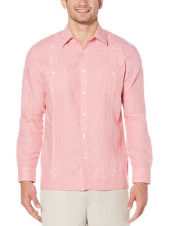 100% Linen Long Sleeve Gingham 2 Pocket Guayabera, Spiced Coral, hi-res