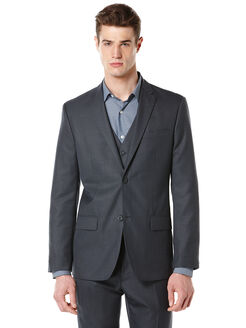 Big and Tall Textured Fabric Suit Jacket, Navy, hi-res
