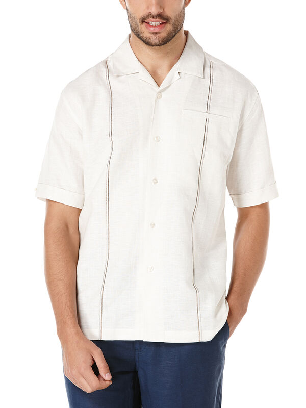 Linen Short Sleeve Slub Camp Collar Shirt, Oyster Gray, hi-res