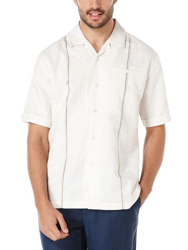 Linen Short Sleeve Slub Camp Collar Shirt, Oyster Gray, hi-res
