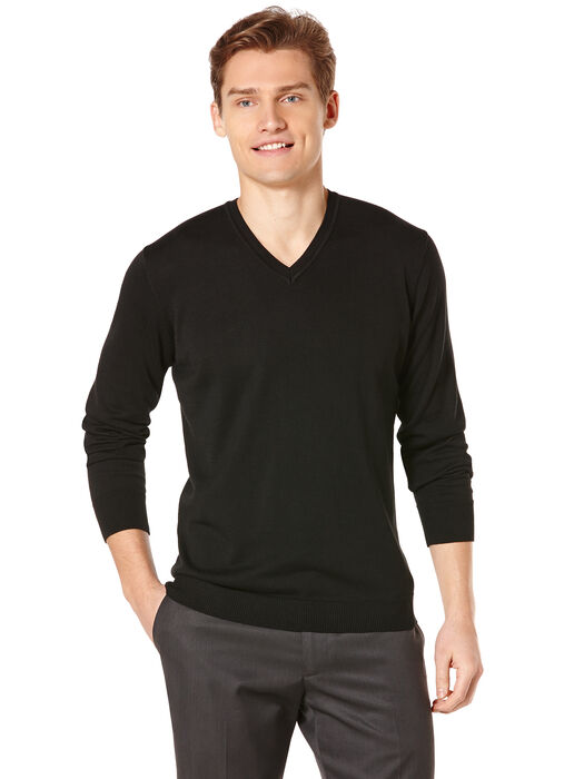 Long Sleeve Solid V-Neck Sweater, Black, hi-res