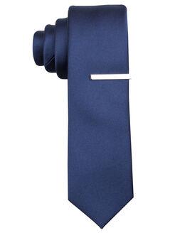 Denmark Solid Tie, Navy, hi-res