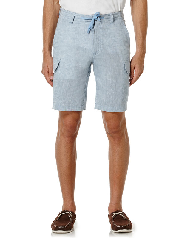 Linen Chambray Cargo Short, Blue Shadow, hi-res