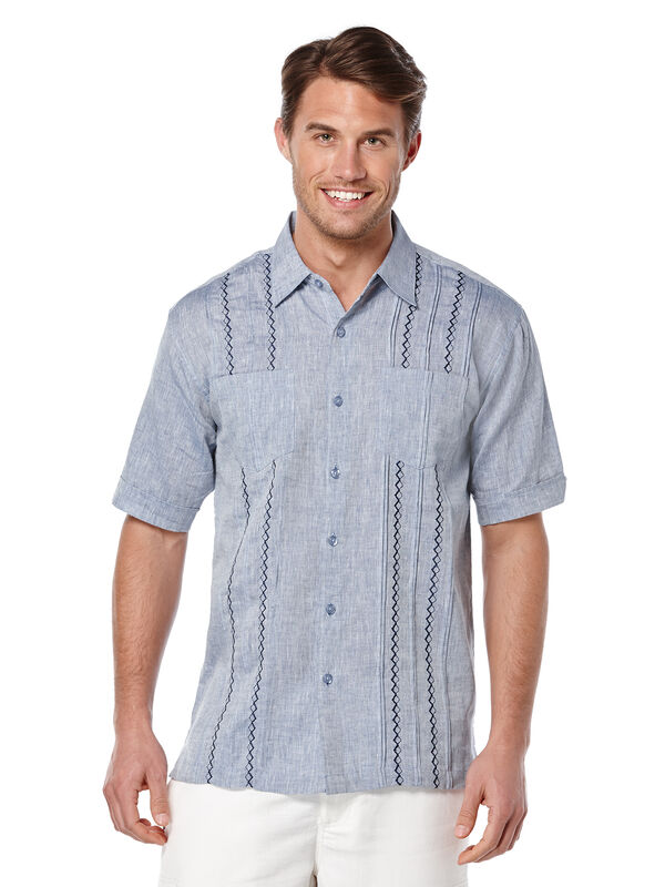 Short Sleeve 100%  Linen 2 Pocket Tuck With Embroidery, Delft, hi-res