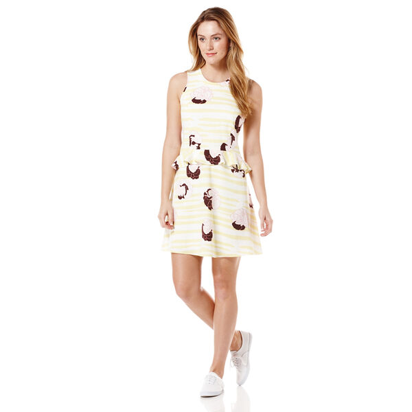 EXPLODED FLORAL PRINTED DRESS, Bright White, hi-res