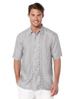 Short Sleeve 100% Linen Embroidered Panel, Castlerock, hi-res
