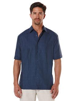 Linen Short Sleeve Front Panel Bartack Guayabera, Ensign Blue, hi-res
