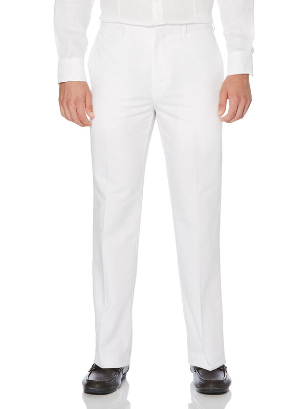 Cotton Linen Herringbone Flat Front Pant, Bright White, hi-res