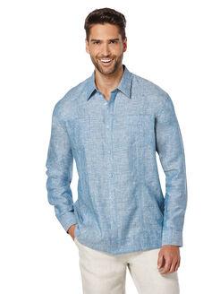 100% Linen Long Sleeve 2 Upper Pocket Guayabera, Blue Saphire, hi-res