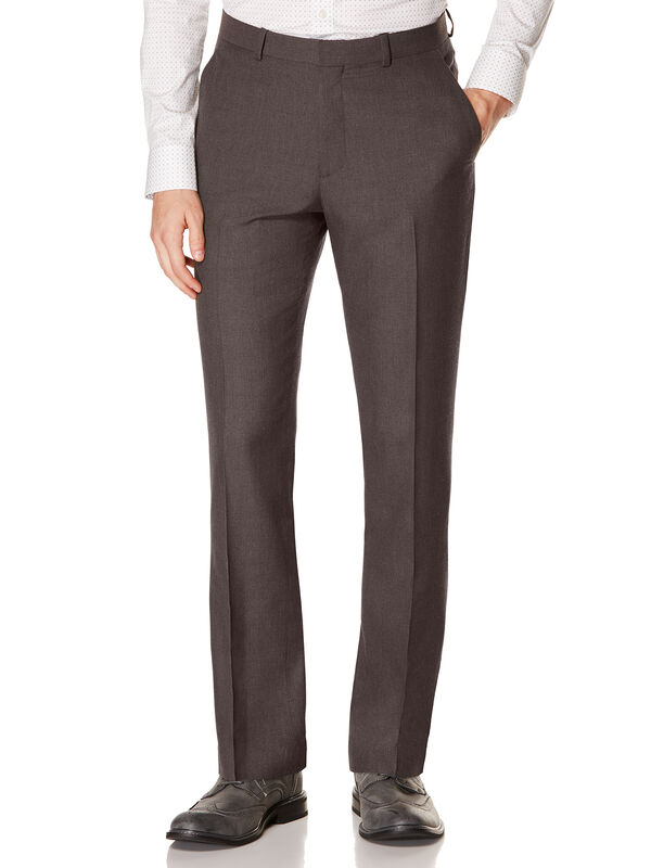 Slim Fit Heather Basket Weave Dress Pant, Charcoal, hi-res
