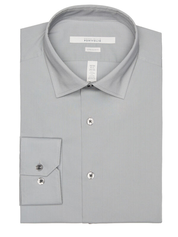 Ultra Slim Solid Dress Shirt, Monument, hi-res
