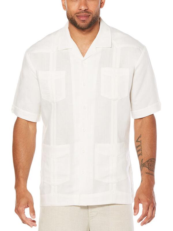 Big & Tall Short Sleeve Ramie Rayon Guayabera, Bright White, hi-res