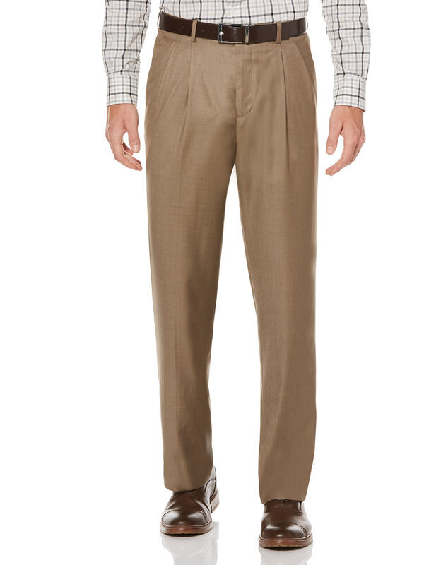 Double Pleated Classic Fit Portfolio Pant, Khaki, hi-res
