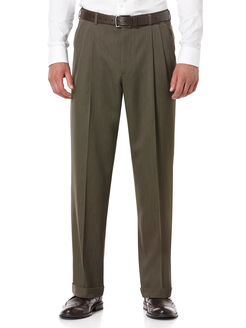 Double Pleated Melange Portfolio Pant, Fir, hi-res