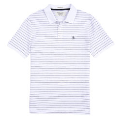 JACQUARD STRIPE POLO, Bright White, hi-res