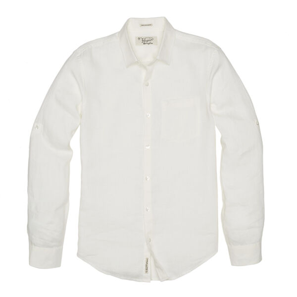 ROLLED SLEEVE LINEN SHIRT, Bright White, hi-res