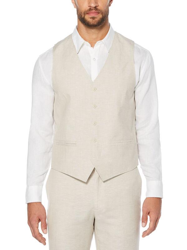 Pinstitched Vest, Khaki, hi-res