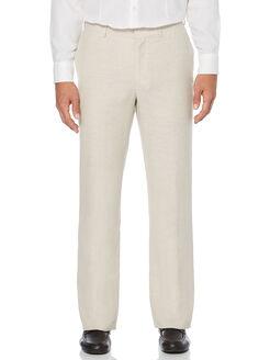 Linen Blend Flat Front Pant, Khaki, hi-res