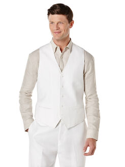 Big & Tall Linen Pinstitched Vest, Bright White, hi-res