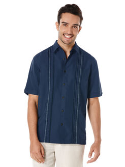 Big & Tall Short Sleeve Front Tuck With Geo Stitching, Dress Blues, hi-res