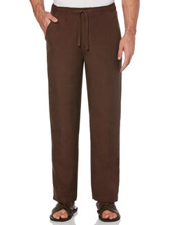 "Drawstring Linen Pant - 32"" Inseam, Chocolate Brown, hi-res"