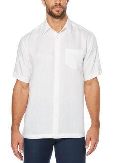 100% Linen Short Sleeve 1 Pocket Shirt, Bright White, hi-res