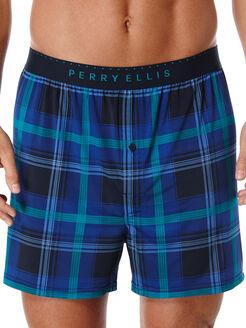 Ibiza Plaid Luxe Boxer Short, Navy/Kiwi, hi-res