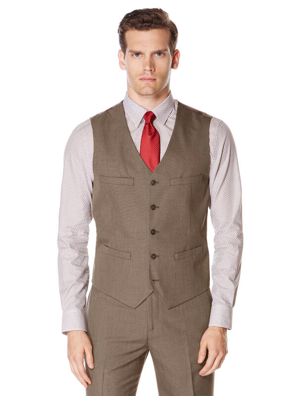 Subtle Pattern Twill Suit Vest, Chinchilla, hi-res