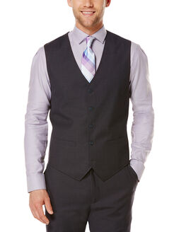 Tonal Micro Check Suit Vest, Navy, hi-res