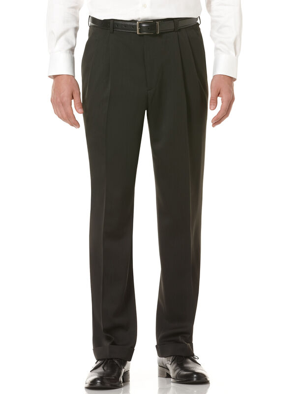 Double Pleated Melange Portfolio Pant, Caviar, hi-res