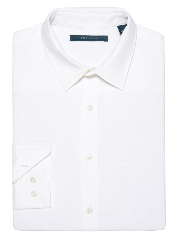 Roll Sleeve Solid Linen Shirt, Bright White, hi-res