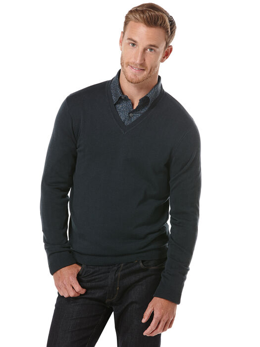 Perry Ellis Solid V-Neck Mens Sweater
