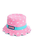 Girls Striped Embroidered Bucket Hat